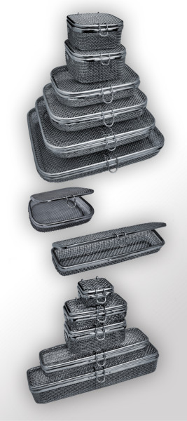 Siebkörbe mit Deckel, aus Edelstahl, Maschenweite: 3 x 3 mm